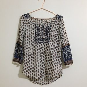 3/25 Lucky Brand Mixed Print Peasant Top Small